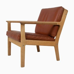 Model 265 Armchair in Oak and Leather by Hans Wegner for Getama, 1987