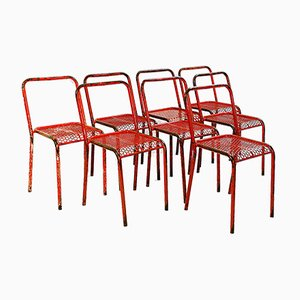 Munition Stacking Chairs by Rene Malaval, France, 1950s, Set of 8