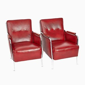 Bauhaus Chrome and Leather Armchair Set by Jozsef Peresztegi, 1960, Set of 2