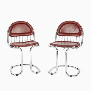 Vintage Chrome and Leather Cantilever Dining Chairs, 1970s, Set of 2