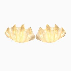 Muschelförmige Wandleuchten aus goldenem Muranoglas von Barovier & Toso für Mazzega, 2er Set