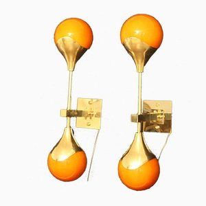 Orange Murano Glass and Brass Wall Sconces in the Style of Stilnovo, Set of 2