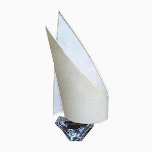 Mid-Century Kristallglas Yacht Lampe mit Leinen Segel von Daum