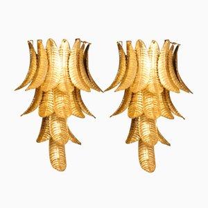 Lange Goldene Wandleuchten aus Muranoglas in Palmenform von Barovier & Toso, 2er Set