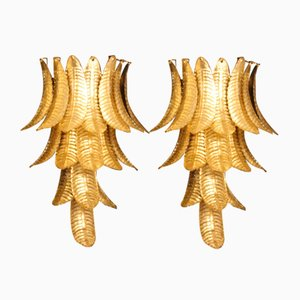 Long Golden Murano Glass Sconces in Palm Tree Shape from Barovier & Toso, Set of 2