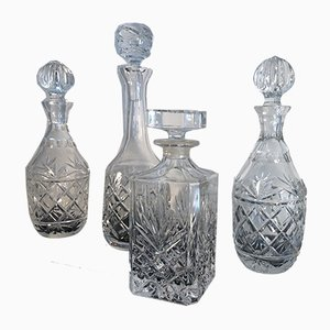 Whiskey Dekanter aus Kristallglas, 1970er, 4er Set