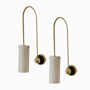 Wall Lamps with Arched Brass Arm and White Glass Shade, Set of 2
