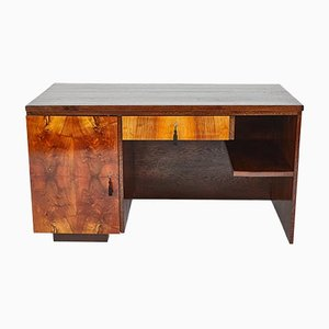 Art Deco Walnut Veneer Office Desk with Drawers by Jindrich Halabala for UP Závody, 1930s