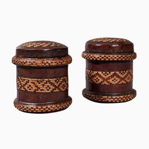 Vintage English Decorated Tobacco Tins in Leather, 1940s, Set of 2
