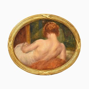 Pintura de mujer desnuda, Art Déco, óleo sobre lienzo, siglo XX