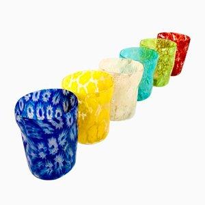 Vintage Italian Murano Glass Primavera Drinking Set by Maryana Iskra & Alessandro Maso for Ribes Studio, Set of 6