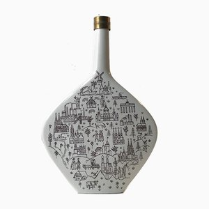 Danish Modern Porcelain and Brass Decanter from Nymolle, 1970s