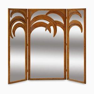 Mid-Century Spiegel mit Dreifachgefalteten Palmenrahmen aus Bambus von Vivai Del Sud