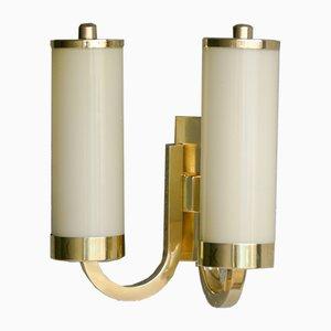 Lampada da parete Art Deco a due braccia in ottone