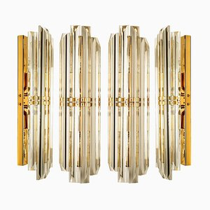 Murano Glass and Gilt Brass Sconces in the Style of Venini, 1960s