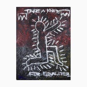 Take a Kneel for Equalitee, pittura ad olio figurativa contemporanea, 2020