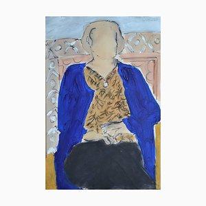 Sarah Jane in Blue, Contemporary Mixed Media Figurative Gemälde von John Emanuel, 2015