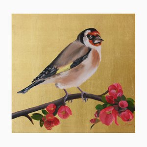Goldfinch on Gold with Japonica Blossom, Oil Paint and Gold Leaf Painting, 2019