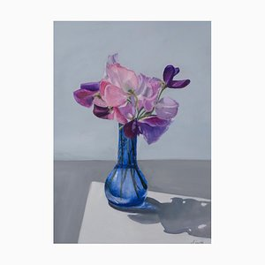 Sweet Peas in a Blue Glass Vase, 2019