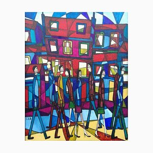 Around Town, Contemporary Abstract Figurative Painting, 2016