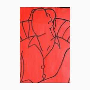 Rote Mono Figur, Contemporary Mixed Media Figurative Malerei von John Emanuel, 2014
