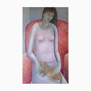 Woman and Cat, Contemporary Figurative Oil Painting on Canvas, 2015