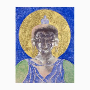 Loving Kindness, Contemporary Mixed Media Buddha Painting, 2016