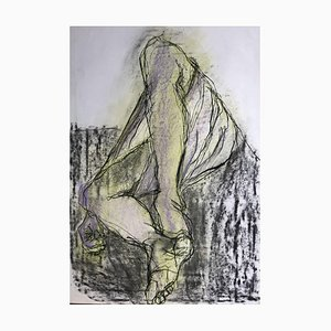Man in Sarong, Contemporary Mixed Media on Paper, 2019