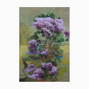 Wild Lilac, Contemporary Still Life Oil Painting