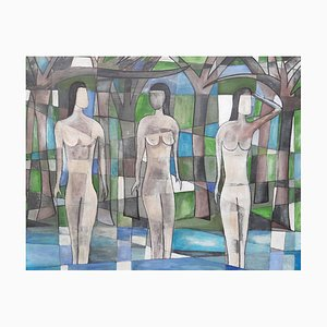 The Bathers, Contemporary Oil on Board Painting, 2019