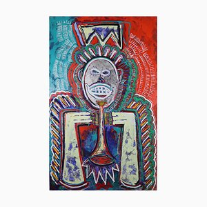 Dass Kat Miles Neo-Expressionist, Contemporary Portrait von Miles Davis, 2018