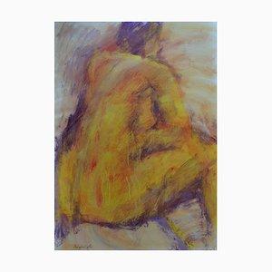 Yellow Back, Mixed Media Gemälde auf Papier von Angela Lyle, 2001
