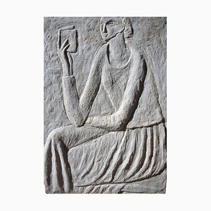 Woman Reading Concrete Bas Relief by Ruth Addinall
