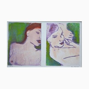 Nudes in Green, Contemporary Limited Edition Etching, 2017