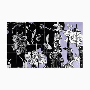 Rhosyn Du, Black Rose, Contemporary Quilt Wall Hanging