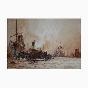 Shipping on the River Thames, London di Charles Dixon
