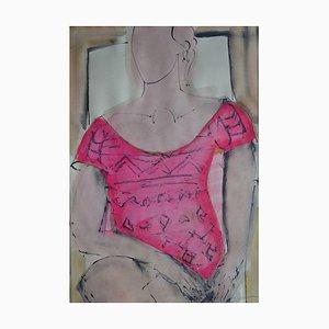 Sarah-Jane: Pink, Contemporary Mixed Media Figurative Painting by John Emanuel, 2015
