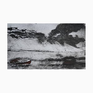 Mounts Bay, Monochrome, Contemporary Limited Edition Etching, 2015