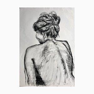 Christine mit dem Haar, Kohle auf Papier, 2001