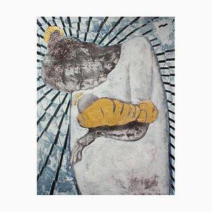 Peinture Mary and The Grain de Graine de Moutarde, Huile et Feuille Dorée et Argentée 2014
