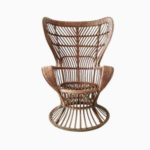 High Back Rattan Chair, 1940s