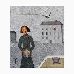 Joanna Wiszniewska Domańska, Portrait of Girl with a Ball (Hans Memling), 2017