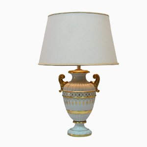 Lámpara de mesa italiana de porcelana con detalles dorados, años 70