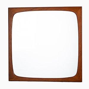 Quadratischer Dänischer Spiegel mit Teak Rahmen, 1960er
