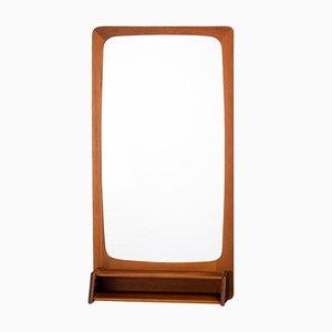 Danish Mirror with Teak Frame and Shelf, 1960s