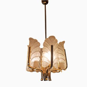 Brass Ceiling Lamp by Carl Fagerlund and Orrefors for JBS, 1960s