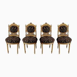 Napoleon III Holzstühle im Louis XVI Stil, 19. Jahrhundert, 4er Set