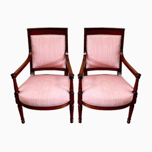Consulate Period Mahogany Armchairs, Early 19th Century, Set of 2