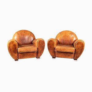 20th Century Dutch Sheepskin Leather Club Chairs, Set of 2
