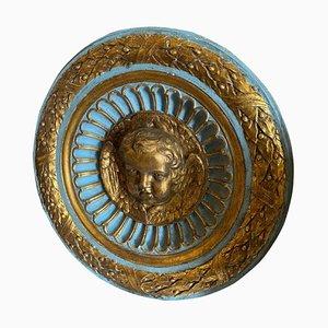19th Century Italian Round Plaster Ornament Depicting an Angel